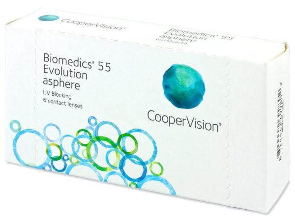 BIOMEDICS 55 EVOLUTION ASPHERE, Lentes de contacto para corrección de miopía e hipermetropía