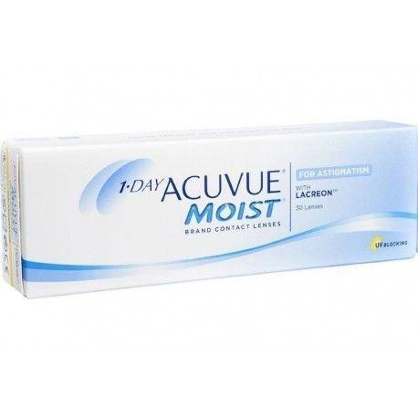 1 Day Acuvue Moist, lentes de contacto desechables para astigmatismo, caja con 30 lentes de contacto.