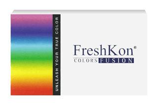 Freshkon Colors Fusion Sparklers, Pupilentes de colores con graduación para miopia e hipermetropía de uso mensual, caja con 2 lentes.