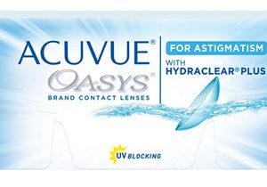 Acuvue Oasys, lentes de contacto para astigmatismo, caja con 6 lentes de contacto (3 Pares).