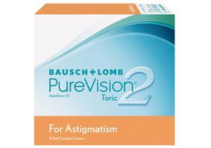 Pure Vision 2 Tórico, lentes de contacto para astigmatismo, caja con 6 lentes de contacto (3 pares).
