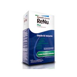 ReNu Plus Kit de Inicio con solución multipropósito de 60 ml, ReNu Plus gotas lubricantes y rehumectante y un estuche para lentes de contacto blandos.